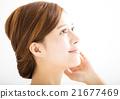 closeup beautiful young smiling  woman  face 21677469
