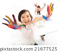 happy little girls with hands in the paint 21677525