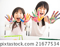 happy little girls with hands in the paint 21677534