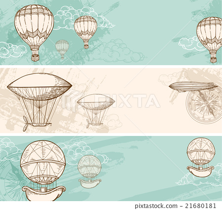 Stock Illustration: Vintage banners with air balloons