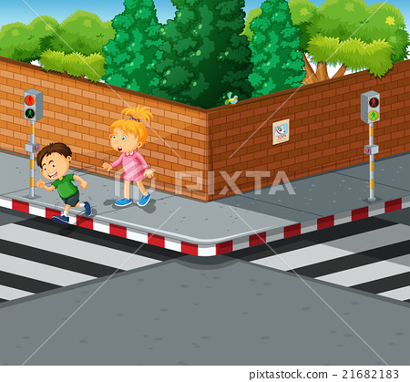 Boy and girl crossing the road 21682183