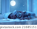 child little girl sleeping at window dreaming and admiring the s 21685151