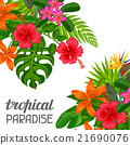 Tropical paradise card with stylized leaves and 21690076