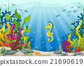 Illustration of underwater landscape with seahorse 21690619