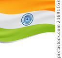 Waving flag of India isolated on white 21691163