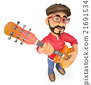 3D Rock star playing the guitar 21691534