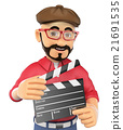 3D Film director with a clapperboard 21691535
