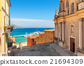 Colorful houses and Mediterranean sea in Menton. 21694309