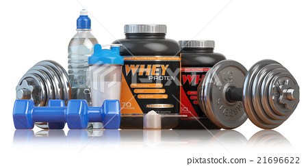 Whey protein with dumbbells and shaker.  21696622