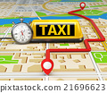 Taxi sign on the city map with stopwatch and route 21696623