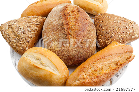 assorted breads isolated 21697577