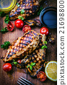 Grilled chicken breast in different variations  21698800