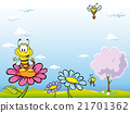 bee cartoon sitting on flower 21701362
