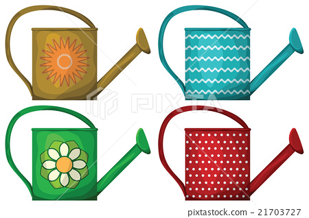 Watering pot set isolated on white background 21703727