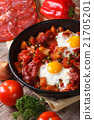 Fried eggs with chorizo and vegetables 21705201
