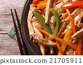 chicken with vegetables macro and chopsticks 21705911
