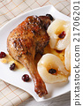 roasted duck leg with pears and raisins 21706201