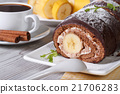 Chocolate roll with banana and coffee close-up 21706283