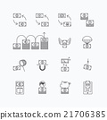 vector linear web icons set - business money  21706385