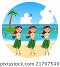 矢量 海灘 草裙舞女孩們 21707540
