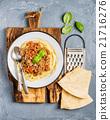 Pasta dinner. Spaghetti Bolognese in metal plate 21716276