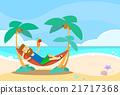 Man Lying In Hammock Beach Vacation 21717368