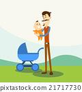 Father Hold Baby, Newborn Pram Nature Background  21717730