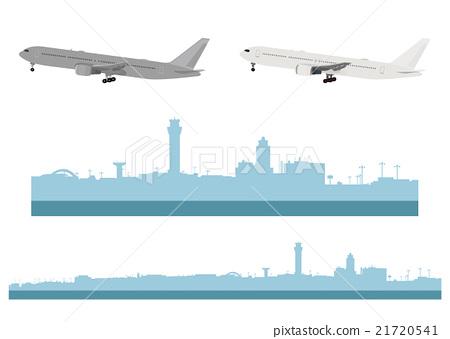"Illustration material ""Haneda Airport and Airplane"" 21720541"