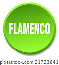 flamenco green round flat isolated push button 21723841