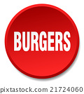 burgers red round flat isolated push button 21724060