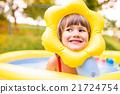 Little girl having fun in the garden swimming pool 21724754