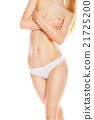 Front view of beautiful woman in white bikini 21725200
