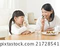 父母和孩子吃餅乾 21728541