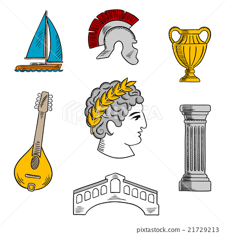 Stock Illustration: Attractions of Italy sketch for tourism design