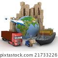 Cardboard boxes, cargo ship, truck and plane. 21733226
