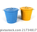 3d blue and yellow plastic bucket isolated  21734817
