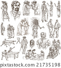 Hand drawn, freehand drawing, collection - People 21735198