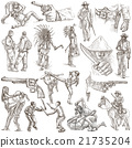 Hand drawn, freehand drawing, collection- Warriors 21735204