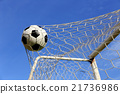 foot ball in the goal net 21736986