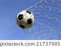 Socce in the goal net 21737005