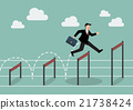 Businessman jumping higher over hurdle 21738424