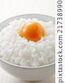 加入生鸡蛋的米饭 精米 食物 21738990