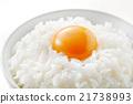 加入生雞蛋的米飯 食物 食品 21738993