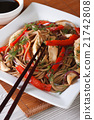 Yakisoba with chicken, vegetables and teriyaki 21742808