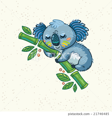 Cute cartoon koala on a tree. Vector illustration 21746485