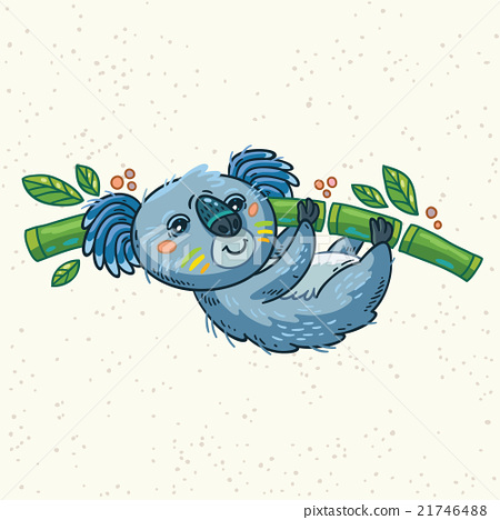 Cute cartoon koala on a tree. Vector illustration 21746488