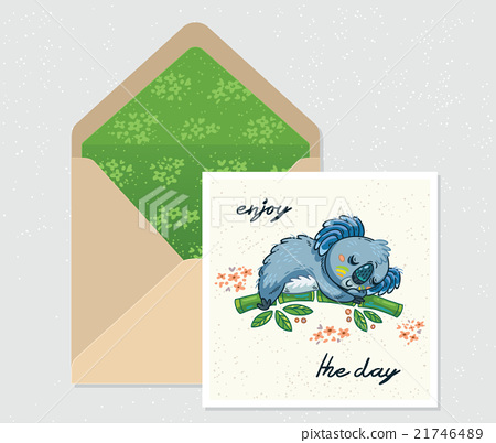 Vector set for design. Envelope and card with cute 21746489