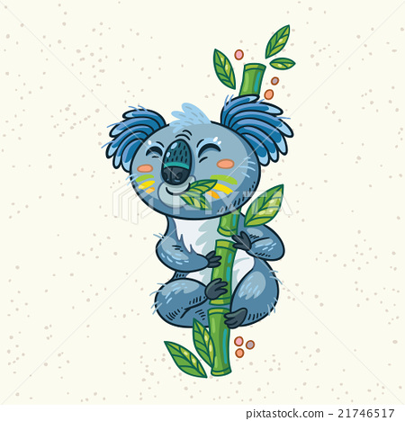Cute cartoon koala on a tree. Vector illustration 21746517