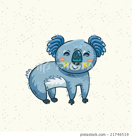 Cute cartoon koala on a tree. Vector illustration 21746519