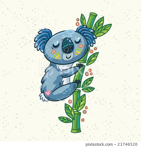 Cute cartoon koala on a tree. Vector illustration 21746520